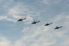 Group of helicopters. Group of Russian helicopters mi-35 stock photos