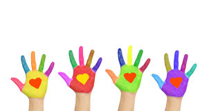 Group of helping hands with hearts on the palms. Royalty Free Stock Images