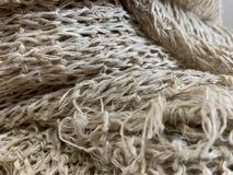 A group of hemp fibers and natural texture for fabric. Craft stock photos