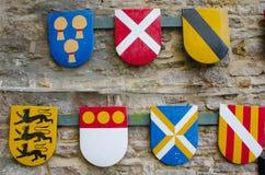 Group of heraldic shields Stock Photos