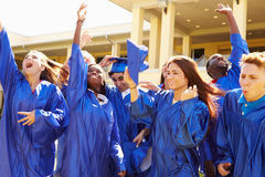 Group Of High School Students Celebrating Graduation Stock Images