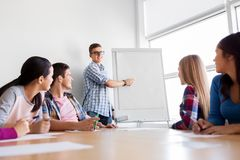 Group of high school students with flip chart royalty free stock photo