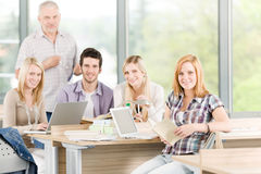 Group of high-school students with professor Stock Photos
