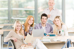 Group of high-school students with professor Stock Image