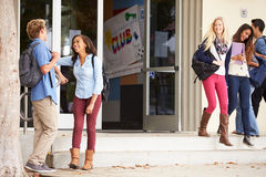 Group Of High School Students Standing Outside Building Stock Photo