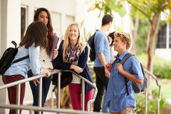 Group Of High School Students Standing Outside Building Stock Photos