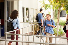 Group Of High School Students Standing Outside Building Stock Images