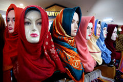 Group of hijab on mannequin Royalty Free Stock Image
