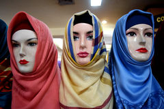 Group of hijab on mannequin Stock Photography