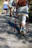 Group of Hikers. Some does Nordic Walking Stock Image