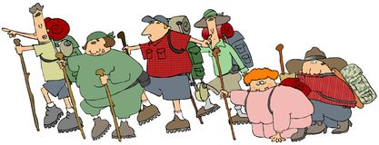 Group Of Hikers. This illustration depicts a group of hikers with backpacks and walking sticks Royalty Free Stock Photos