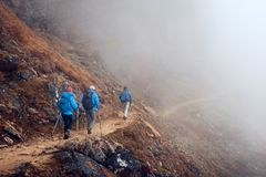 Group Hikers with Backpacks walking down on Mountain Trail in foggy mountains. Group Hikers with Backpacks walking down on Mountain Trail enjoying on view of royalty free stock photos