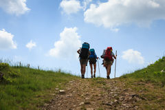 Group of hikers in the Carpathian mountains Royalty Free Stock Image