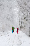 Group of hikers in foggy winter forest Stock Image