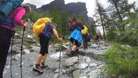Group of hikers at hiking expedition in Alps. MONT BLANC, Group of hikers at hiking expedition in Alps mountains in France stock photography