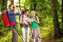 Group of hikers with map and binoculars Stock Photos