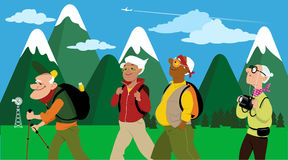 Group of hikers. Group of middle aged and elderly people hiking, mountain landscape on the background, EPS 8 vector illustration, no transparencies Stock Images