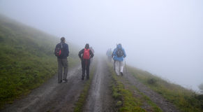 Group of hikers in the mist Stock Images