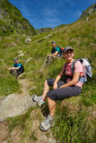 Group of hikers on a mountain trail Royalty Free Stock Photos