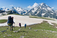 Group of hikers in mountain wally. Stock Photography