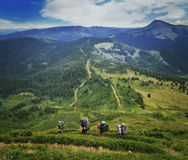 Group of hikers in the mountains Royalty Free Stock Images
