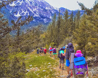 Group of hikers in the mountains, view of Tahtali  mountain Royalty Free Stock Photo