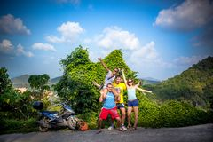 Group of hikers in mountains woods. Thailand Stock Photography