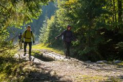 Group of hikers on a trail Stock Image
