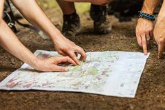 Navigating with map and compass Stock Photography