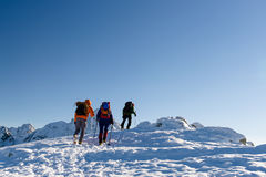 Group hikers in winter mountains. Beautiful landscape and blue sky Royalty Free Stock Photography