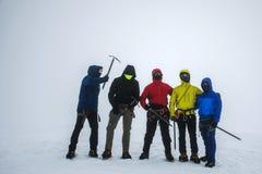 Group Hiking glacier Hvannadalshnukur summit in Iceland mountain landscape Vatnajokull park foggy 2 Royalty Free Stock Photography