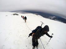 Group Hiking glacier Hvannadalshnukur summit in Iceland mountain landscape Vatnajokull park 6 Stock Photo