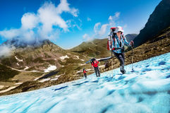 Group hiking royalty free stock photography