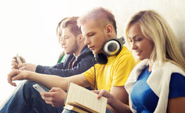 Group of hipster students on a break. Group of hipster student on a break. School and education concept Royalty Free Stock Image