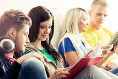 Group of hipster students on a break. Group of hipster student on a break. School and education concept Stock Photo