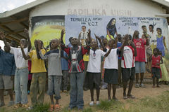 A group of HIV/AIDS infected children sing song about AIDS at the Pepo La Tumaini Jangwani, HIV/AIDS Community Rehabilitation Prog. Ram, Orphanage & Clinic. Pepo royalty free stock images
