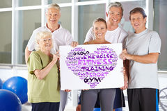 Group holding fitness concept tag cloud Royalty Free Stock Photo