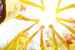 Group holding hands as cooperation concept Royalty Free Stock Photos