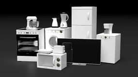 Group of home appliances Stock Image