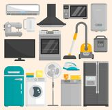 Group of home appliances isolated on white background. Kitchen equipment refrigerator home appliance domestic oven Royalty Free Stock Photo