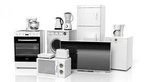 Group of home appliances stock illustration