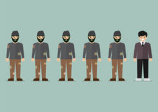 Group of homeless men and rich man character. Vector illustration Royalty Free Stock Photo