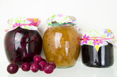 Group of homemade preserves canned goods Royalty Free Stock Photography