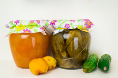 Group of homemade preserves canned goods Royalty Free Stock Photo