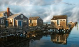 Group of Homes over the Water in Nantucket, U.S.A. Group of Homes over the Water in Nantucket, Massachusetts Royalty Free Stock Photos