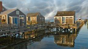 Group of Homes over the Water in Nantucket, U.S.A. royalty free stock images