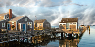 Group of Homes over the Water in Nantucket, U.S.A. Group of Homes over the Water in Nantucket, Massachusetts Stock Photo