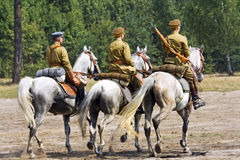 Group of military Russian horse riders Royalty Free Stock Photo