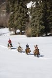 Group horseback riding. Group horseback riding in snow covered landscape in Colorado, USA royalty free stock photo