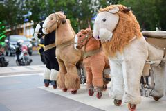 Group of horses toys for children royalty free stock photos